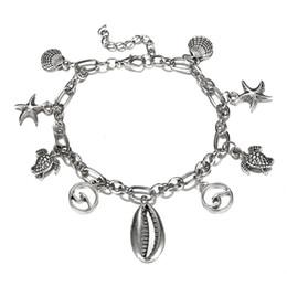 $enCountryForm.capitalKeyWord NZ - Hot Selling Ocean Style Pendant Bracelet Silver Plated Starfish Shell Tortoise Beach Braclet 14.6G 1pcs lot F550