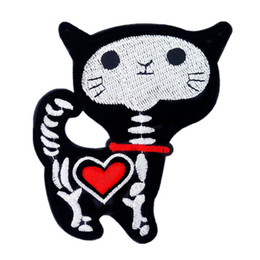 skull patches wholesale UK - Embroidery Patch Cat Skull Heart Sew Iron On Embroidered Patches Punk Badges For Bag Jeans Hat T Shirt DIY Appliques Craft Decoration