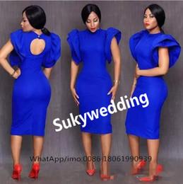 Vente en gros Bleu royal gaine robes de cocktail thé longueur mancherons femmes robe de soirée formelle col haut robes de bal courtes design unique