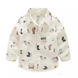 Discount boy winter cars - Christmas New Kids Boys Cars Print Cotton Fall Shirts Long Sleeve Western Cute Boys Fashion Tops B11