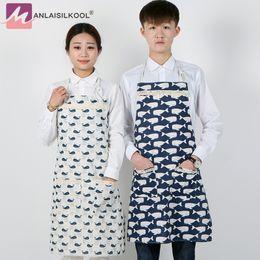 Moda estilo japão tubarão saia de linho de algodão anti-óleo avental avental de cozinha café adulto avental 2018 novo