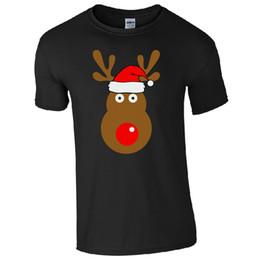 Cool Unisex Kids Hats Australia - Rudolph Reindeer Face Santa Hat T-shirt - Retro Cute Christmas Kids Mens Top Cool Casual Pride T Shirt Men Unisex New Fashion