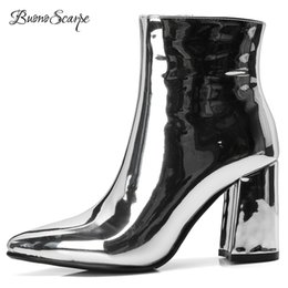 BuonoScarpe Women Ankle Boots Mirror Leather 2018 Dress Shoes Chunky High  Heel Botas Mujer Silver Gold Booties Pointed Toe Boots 58582d2d44b9