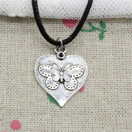 $enCountryForm.capitalKeyWord Australia - Creative Fashion Antique Silver Pendant heart butterfly 25*20mm Necklace Choker Charm Black Leather Cord Handmade Jewlery