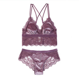 b009b56bd1 New Summer Bralette Wire Free Satin Bra Set thin Triangle cups Solid Color  Bra and Panty Set Lingerie Underwear Women Brassiere