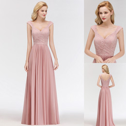 2019 Newest Blush Pink Capped Sleeves Bridesmaid Dresses Chiffon Lace Floor Length Beach Garden Maid of Honor Gown CPS1071 on Sale