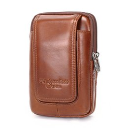$enCountryForm.capitalKeyWord UK - YIANG Brand Men's Fashion Genuine Leather Waist Belt Bag Fanny Pack Dual Pouches Casual Mobile Phone Bags for iPhoneX 6 7 8 plus