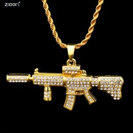 Discount gold gun pendant - gold silver color hip hop bling bling Rhinestone M4 carbine shape pendant necklace 76cm long chain gun necklaces for Men