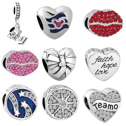 Silver braceletS hope online shopping - MOQ silver bead trophy Lips Hope Teamo charm fit Original Pandora Bracelet Bangle DIY Jewelry N087