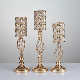 $enCountryForm.capitalKeyWord Australia - 10PCS LOT Metal Gold Crystal Road Lead Table Centerpiece Stand Pillar Candlestick For Wedding Candelabra Flowers Vases