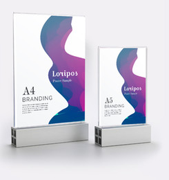 Desk paper holDers online shopping - A5 A4 aluminum base Acrylic frame panel table sign holder Advertising Poster display stand desk menu stand paper info picture photo frame