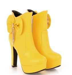$enCountryForm.capitalKeyWord UK - Free send Autumn winter bowknot high heel short boots 2018 Coarse heel waterproof platform female Martin boots