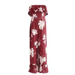 220b4c1f632 Bohe Strapless Elastic Slash Neck Flower print Jumpsuit 2018 Women Off  Shoulder Sleeveless Ruffles Long Pants Romper Overalls