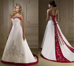 Wedding Dresses Apple Red NZ - 2019 Vintage Wine Red And White Satin Embroidery Wedding Dresses A Line Lace Up Court Train Spring Fall Bridal Gowns vestidos Plus Size