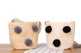 $enCountryForm.capitalKeyWord UK - Wholesale and retail new straw bag cute sweet hair ball beach bag woven bucket handbag
