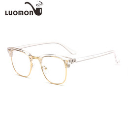 LUOMON Retro Metal Half Glasses Frames Myopia Eyeglasses Transparent Frame 2018 New Men's Eyewear Women's Flat Light Mirror from wholesale nerd clear lens glasses manufacturers