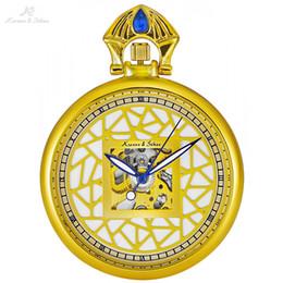 $enCountryForm.capitalKeyWord NZ - KS Retro Golden Skeleton Clock Elegant Crown Men Male Mechanical Pocket Watches Jewelry Key Pendant Clip Chain +Gift Box  KSP109