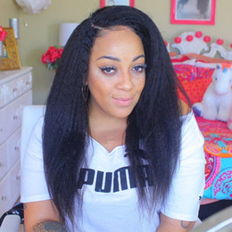 bleach knot yaki full lace wig NZ - Italian Yaki Full Lace Wig Bleached Knots Full Lace Wigs Human Hair With Baby Hair Brazilian Full Lace Wigs Yaki Straight