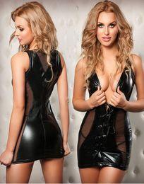 ENGAYI Marca Mulheres Faux Leather Latex Vestido Moda porno Sexy Trajes Sexy Underwear lingerie Desgaste Do Clube Erótico Bonecas Do Bebê X655 Y18102206 venda por atacado