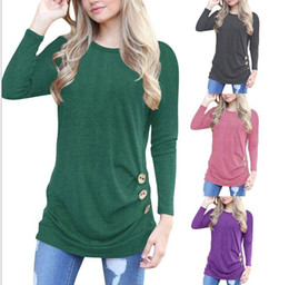 $enCountryForm.capitalKeyWord NZ - New European and American women hot style round collar with long sleeve button T shirt