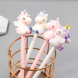 $enCountryForm.capitalKeyWord Australia - 12pcs set Unicorn Gel Pens Kawaii Multi Shape Silica Gel & Plastic Unicorn Pens For Kids Girls Gifts School Writing Supplies Stationery