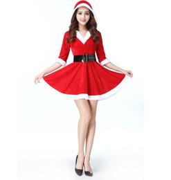 44fc67185b0 New Arrival Christmas Dress Women Christmas Costume For Adult Red Velvet  Fur Dresses Hooded Sexy Female Santa Claus Costume