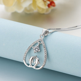 Heart Shaped Chains For Couples UK - Cute 925 Sterling Silver Pendant Necklace Heart shape Couple Dolphin Lover Necklace for Women Fine Jewelry Platinum Rose Gold Colors