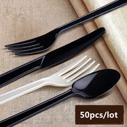 $enCountryForm.capitalKeyWord NZ - 50Pcs Disposable Fork And Spoon Plastic Disposable Tableware Cake Fork Independent Packaging Wedding Birthday Party Supplies