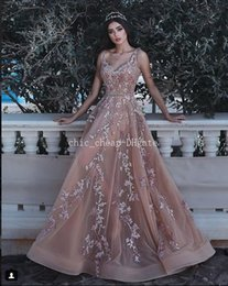 $enCountryForm.capitalKeyWord NZ - 2018 Blush Lace Beaded Evening Dresses V-neck Vintage A-line Tulle Prom Dresses Sexy Cheap Bridesmaid Formal Party Gowns