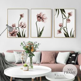 Hd flowers painted canvas online shopping - Romantic Nordic Flowers Poster Canvas Painting Wall Art Pictures For Lving Room HD Posters And Prints Pink Green Home Decorative