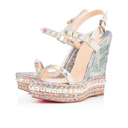 $enCountryForm.capitalKeyWord UK - Luxury Name Brand Women Wedding Dress Red Bottom Wedge & Sandals Rivet High Heels Ladies Ankle Strap Gladiator Sandals With Shipping Bag