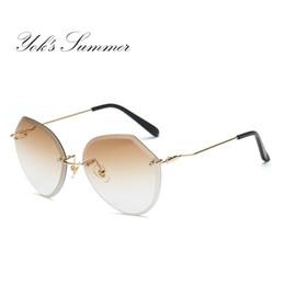 f07fa25904c Yok s Summer Sunglasses For Women Polygon Rimless Diamond Cutting Mirror  Lens Fashion Shades Sun Glasses Decoration Femme WN059