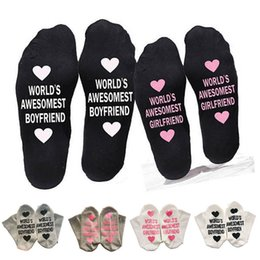 23b705695 unisex humor words printed letters socks World s Awesomest Boyfriend  Girlfriend couple cotton socks Valentine s Day Gift