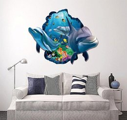 3d wallpapers for boys rooms NZ - 3D Stereo Shark Sea Wall Stickers Under Water World Scenery Wallpaper Poster Kids Boys Room Nursery Wall Applique art Home Decor