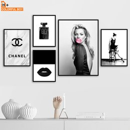 Black White Canvas Wall Prints NZ - COLORFULBOY Bubble Girl Perfume Wall Art Canvas Painting Black White Nordic Posters And Prints Wall Pictures For Living Room