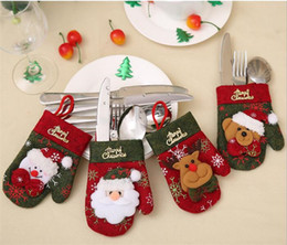 Wholesale cartoon Christmas Hat Silverware Holder Xmas Mini Red Santa Claus Cutlery Bag Party Decor Cute Gift Hat Tableware Holder set G304