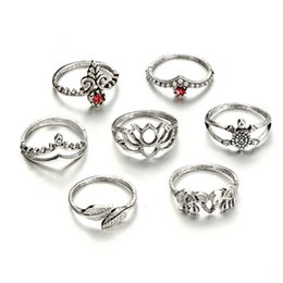 Hollow Fingers Australia - 12 Sets Lot Vintage Finger Ring For Women Men Double Leaf Tortoise Hollow Crown Knuckle Ring Retro Midi Jewelry Accessories