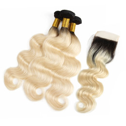 Ombre Wet Wavy Hair UK - Brazilian Virgin 1B 613 Blonde Body Wave Human Hair Bundles With Closure Unprocessed Wet Wavy Human Hair Bundles With Closure Hair Extension