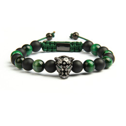 MacraMe aniMal online shopping - New Hot Sale Lover Jewelry Natural Stone Beads Micro Paved Leopard Macrame Bracelets Green For Men Pink For Women