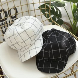 korean beret Canada - Octagonal cap female spring and summer thin section cotton cap literary wild pure color Plaid painter Korean beret