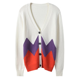 HZLLHX women fall winter cardigan ladies Single-breasted knit top loose  knit outwear red white brown colors long-sleeve V-neck e7c2f1ad8