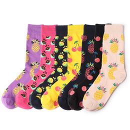 6b06174f00fa Vintage Women Crew Socks Funny Fruit Cherry Pineapple Sock Girls Streetwear Skateboard  Socks couple woman men long sock