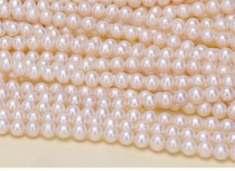 pink freshwater cultured pearl necklace 2018 - LUSTROUS AAA+ WHITE 5-6MM Cultured freshwater Pearl BEADS FOR BRACELET NECKLACE DIY JEWELRY MAKING cheap pink freshwater