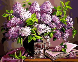 $enCountryForm.capitalKeyWord Australia - 16x20 inches Purple Flowers in Vase DIY Paint On Canvas drawing By Numbers Kits Art Acrylic Oil Painting Frame For Adult Teen