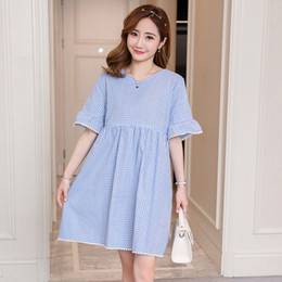 d7c1f1185350b V-neck Dress Maternity Dress Summer New Wave Mother Short-sleeved Plaid Long  Paragraph Can Breastfeeding Pregnant Women