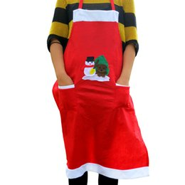Chinese  New Christmas Printed Apron with pockets non-woven bib kitchen apron home textiles Delantales cooking chef for Christmas manufacturers