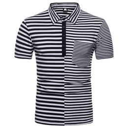 Wholesale mens black polos resale online – Polos Short Sleeve T Shirts Lapel Neck Fashion Striped Design Shirts Man Cotton Tops Shirt New With Pockets Mens Clothes