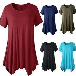 1c253de60 2019 Summer t-shirt Women solid tshirt Short Sleeve O-Neck Tie-Dye Long  Tunic Top Irregular Hem T-shirt Loose Female Tops