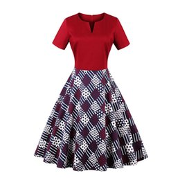 e315e4e32e8 Retro Vintage Womens Printing Patchwork Dress 50s 60s Housewife Big Swing  A-Line Rockabilly Evening Party Dress Sundress S-4XL