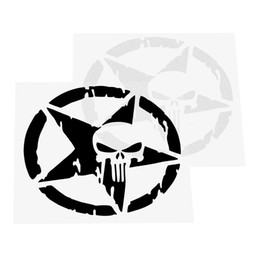 Skull head motorcycle online shopping - Car Stickers and Decals Five pointed Star Body Decor Car Styling Auto Motorcycle Sticker Skull head Black Silver CM